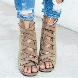 Shoes - Taupe Open-Toe Bootie